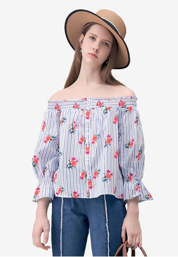 a7d2a0d4bfefe Shop Kodz Floral Printed Off-Shoulder Blouse Online on ZALORA Philippines