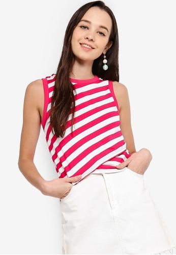 Something Borrowed 白色 and 粉紅色 Striped Overlay Sleeveless Top 5AD0DAA1BCE2D0GS_1