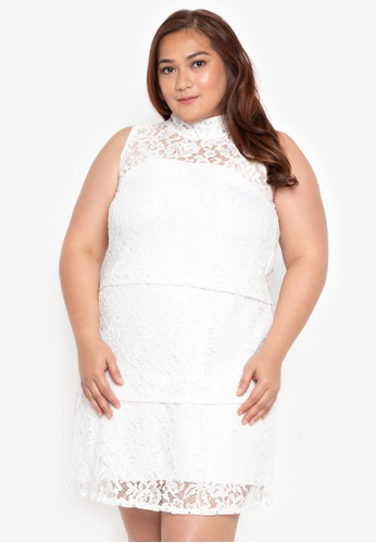4c94d2425204 Ashley Collection Plus white Plus Size High Neck Layered In Lace Dress  4DCF2AAEA579A1GS 1