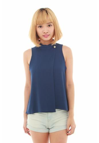 LUXORA blue Pearl Button Blue Layered Chiffon Top LU926AA57QDUSG_1