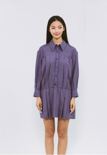 靛藍緹花有機棉長版襯衫, 服飾, esprit outlet 家樂福襯衫