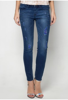 Super Shaper Low Rise Slimming Distressed Jeans