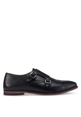 Topman black Black Leather Blinder Monk Shoes 13145SH3D795ACGS_1