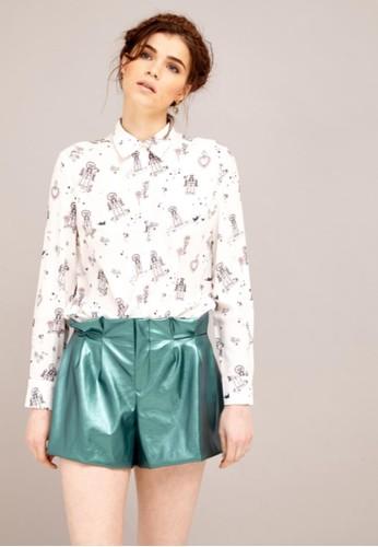 絲質印花襯衫, 服zalora 手錶飾, 上衣
