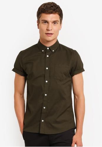 Burton Menswear London green Short Sleeve Khaki Oxford Shirt BU964AA0ROAOMY_1