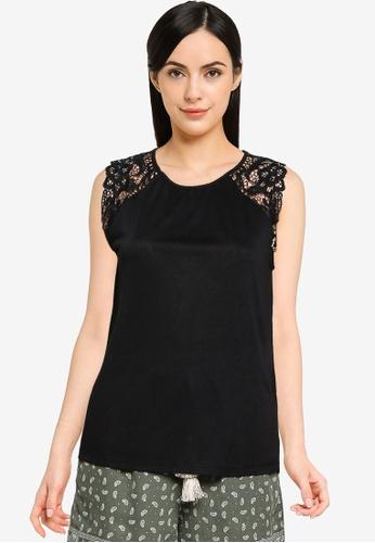 Springfield black Plain Lace Trim Shoulders T-Shirt 66805AA43D5669GS_1