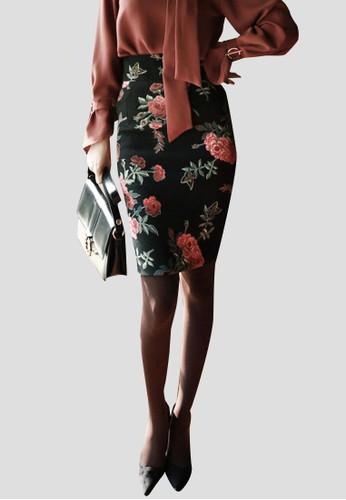 玫瑰印花修身短裙, 服飾, 迷esprit mongkok你裙