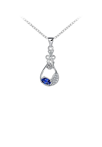 Glamorousky white Popular Creative Perfume Bottle Pendant with Blue Cubic Zircon and Necklace 199A0ACA034BBCGS_1