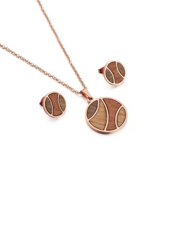 Glamorousky silver Fashion Simple Plated Rose Gold Wooden Geometric Round 316L Stainless Steel Necklace and Stud Earring Set 58411AC86AAAFAGS_1