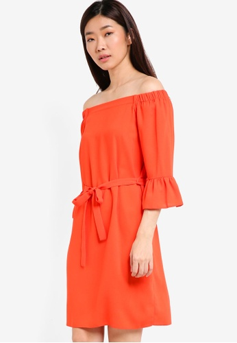 Dorothy Perkins orange Flute Sleeve Shift Dress DO816AA65PPIMY_1