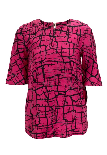 MARNI black and pink Pre-Loved Fuchsia and Back Marni Silk Short-Sleeved Peplum Top with Abstract Print 0B53DAAC8C8CDCGS_1
