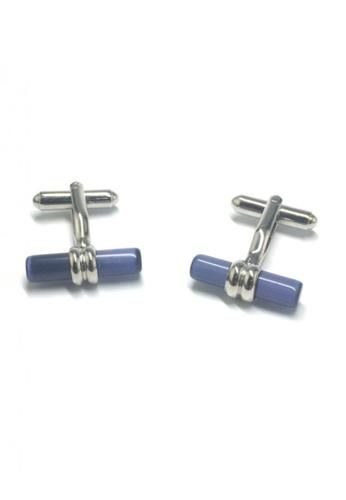 Splice Cufflinks blue and silver Blue Acrylic Cylinder Bar Cufflinks   SP744AC14DNLSG_1