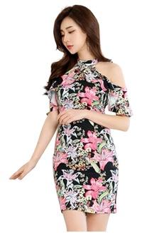 e5aebaa8ecf Stylish Flower Pattern One-piece Dress CA032909 7236DAA3CA4A6CGS 1