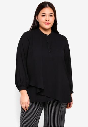 Ex'otico black Plus Size Long Sleeve Mandarin Collar Blouse A4DB1AA6151049GS_1