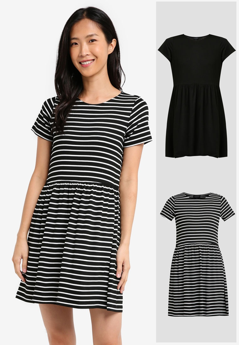 BASICS ZALORA Dress White Doll Black Baby Black amp; Pack 2 Stripe Essential AfYqABX