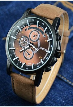 Yazole Deluxe Men's Brown Leather Strap Watch 322