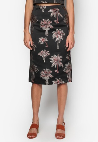 側開叉zalora taiwan 時尚購物網鞋子提花及膝短裙, 服飾, 裙子
