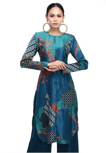 Propaganda - Kurti in Teal Batik from Propaganda in Green and Blue