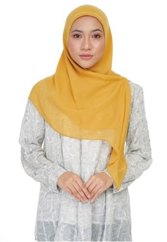 KASHKHA yellow Chiffon basic square-MUSTARD 0BA25AA2DAA88FGS_1