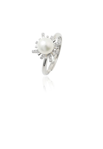 Glamorousky white 925 Sterling Silver Fashion Simple Flower Freshwater Pearl Adjustable Ring with Cubic Zirconia 2345EAC958C4ABGS_1