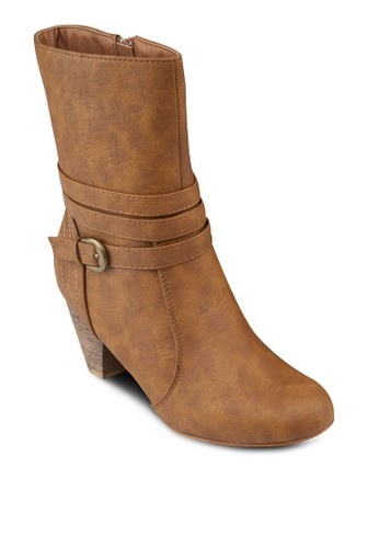 簡約仿皮中筒高跟靴, 女鞋esprit旗艦店, 鞋