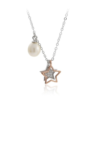 Glamorousky white 925 Sterling Silver Fashion Simple Star Cubic Zirconia Pendant with Freshwater Pearl and Necklace EC5C9ACE0E960AGS_1