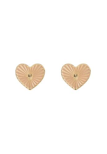 Wanderlust + Co Honor Heart Mantra Stud Gold Earrings 124C2AC1CFB9D7GS_1