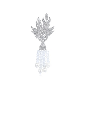 Glamorousky white Elegant and Fashion Leaf Imitation Pearl Tassel Brooch with Cubic Zirconia 79A1CAC5B8FAC6GS_1