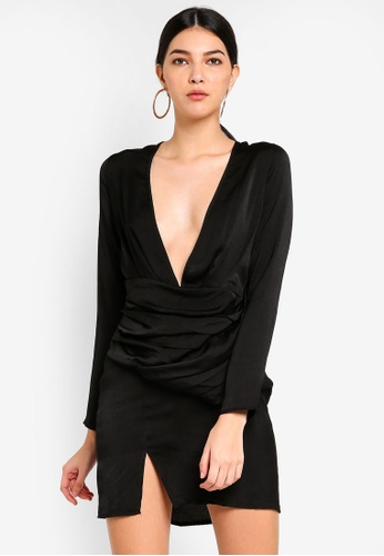 MISSGUIDED black Silky Long Sleeve Pannelled Shift 514F8AAF29263CGS_1
