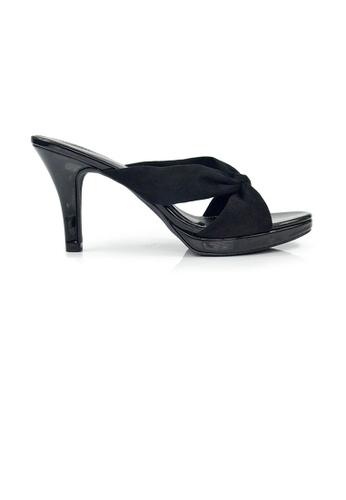 SHINE black SHINE Slip On knot front plantform heels 2D90FSHEF6F453GS_1