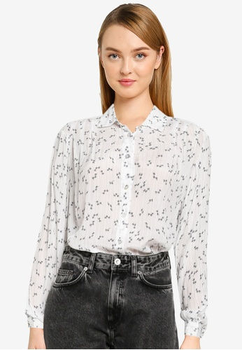 French Connection white Aanya Crinkle Crepe Printed Shirt BBA7BAA801F2FCGS_1