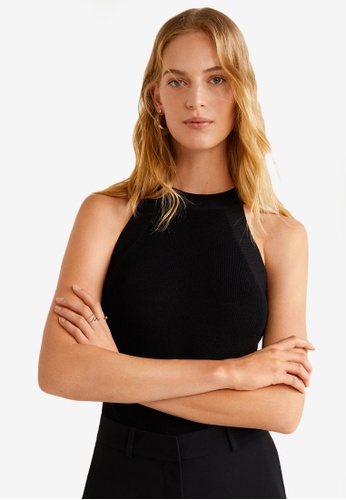 Mango black Halter Neck Top 0E15FAA2627D1CGS_1