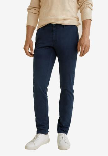 MANGO Man 藍色 Slim-Fit Chinos Trousers CF205AA56E2AC1GS_1