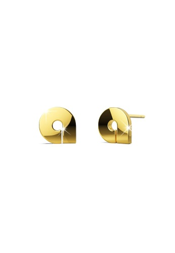 Bullion Gold gold BULLION GOLD Bold Initial Alphabet Letter Earrings Gold Layered Steel Jewellery- A 2FE2BAC79BC4FAGS_1