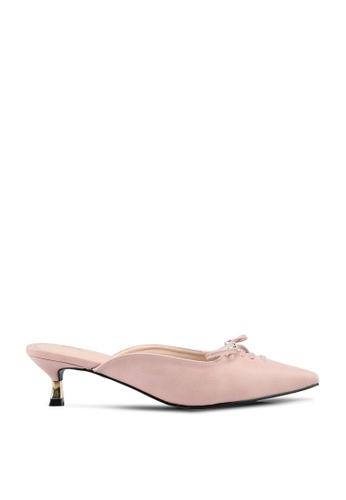 nose pink Ribbon Pointy Toe Heel Mules 4E37ESH8FDDD00GS_1