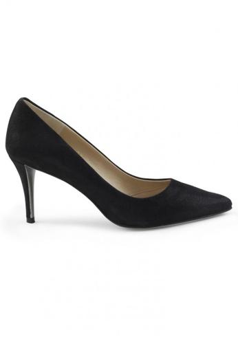 Shu Talk black Metallic Sheepskin Suede Pointed Toe High Heels SH397SH0FPL4SG_1