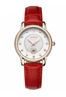 SANDA P198 Luxury Genuine Leather Band Date Display Quartz Dazzling Diamond Women Watch (Red Gold