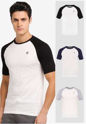 JAXON black and grey and white and multi and navy 3 Pack Short Sleeves Raglan Logo Tee JA219AA0T285MY_1