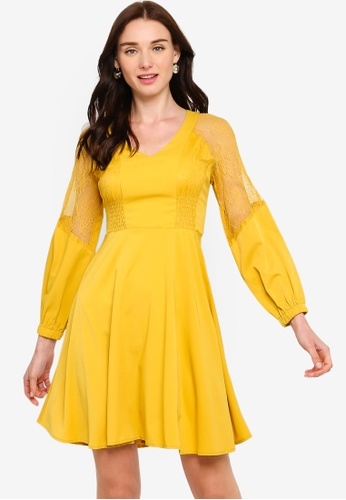 ZALORA yellow Lace Panels Dress 453D5AAAC80004GS_1