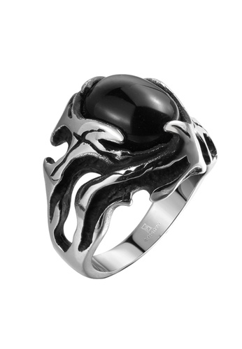 Treasure by B & D silver GMYR161-10 Punk Style Hollow Out Black Stone Inlayed Stainless Steel Ring 22453AC96A8DE6GS_1