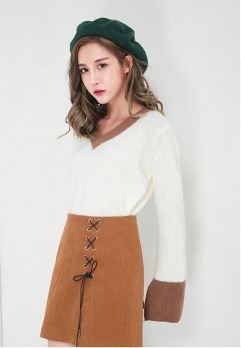 LYCKA brown LL11220 Korean Style  Autumn-Winter A-Line Mini Skirt -Brown -S 3704CAAD7F02D1GS_1