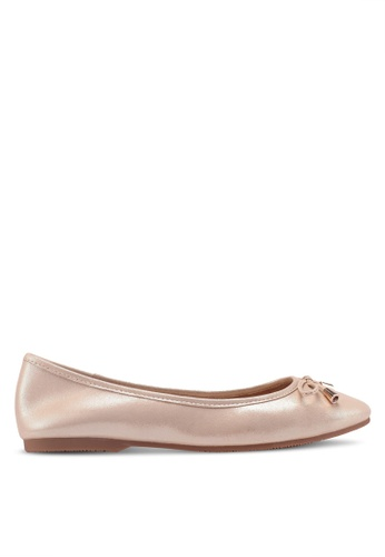 prettyFIT gold Bow Shimmery Leather Ballerina Flats 8D671SH979E5C6GS_1