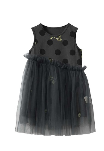 M.Latin grey Polka Dot Sleeveless Dress with Asymmetrical Mesh 20037KAA1069F4GS_1