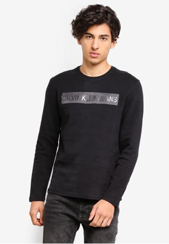 Calvin Klein 黑色 Long Sleeve Fashion Logo Slim Tee - Calvin Klein Jeans 116C8AAAC7A4BCGS_1