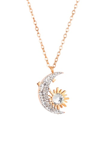 CELOVIS gold CELOVIS - Luyana Crescent Moon Pendant Necklace in Rose Gold 7892FAC673AD94GS_1