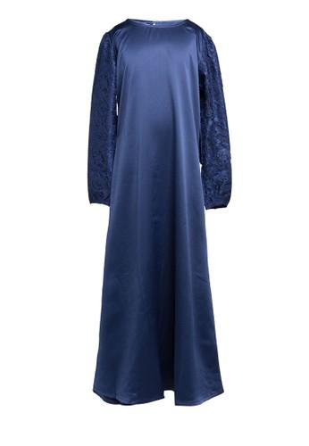 Little Heart navy Lace Baloon Sleeve Dress C159CKA6C76A75GS_1
