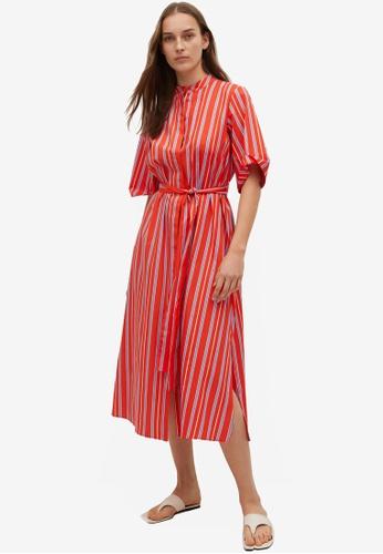 Mango red Striped Cotton Dress 9D836AAE3058CFGS_1