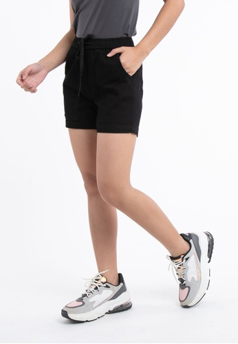 """FOREST black Forest Ladies 14/15"""" Cotton Twill Elastic Waist Casual Shorts Pants - 860137 - 01Black E4903AA29B7ABCGS_1"""