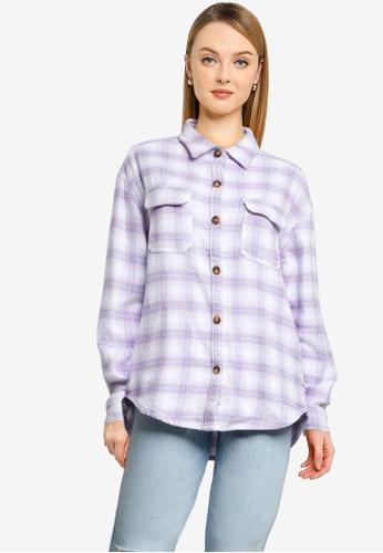 Hollister purple Long Sleeve Shacket 11220AA49688CEGS_1