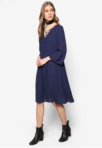 Collection 繫帶V 口圓領七分袖連zalora 鞋評價身裙, 服飾, 洋裝